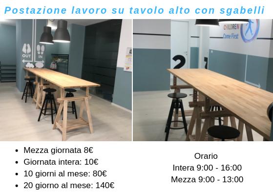 Coworking Brainjog - Postazione lavoro su tavolo alto con sgabelli
