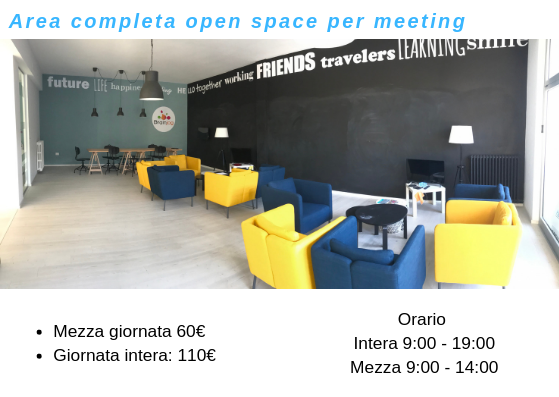 Coworking Brainjog - Area completa open space per meeting