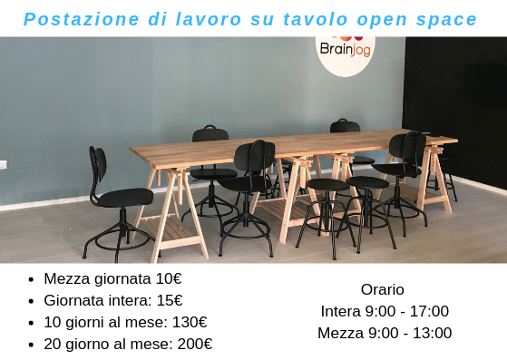 Coworking Brainjog - Postazione lavoro su tavolo open space